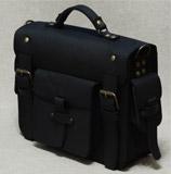 стильный черный кожаный портфель