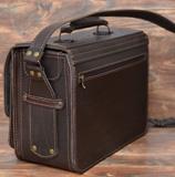 желтый портфель с  карманом в профиль