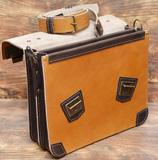 оригинальный двухцветный кожаный портфель