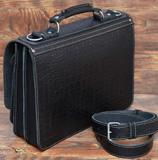 черный портфель из толстой кожи