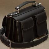 Черная кожаная сумка ручной работы