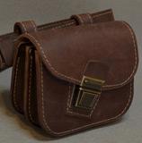 кожаная сумка на пояс с ремнем в комплекте