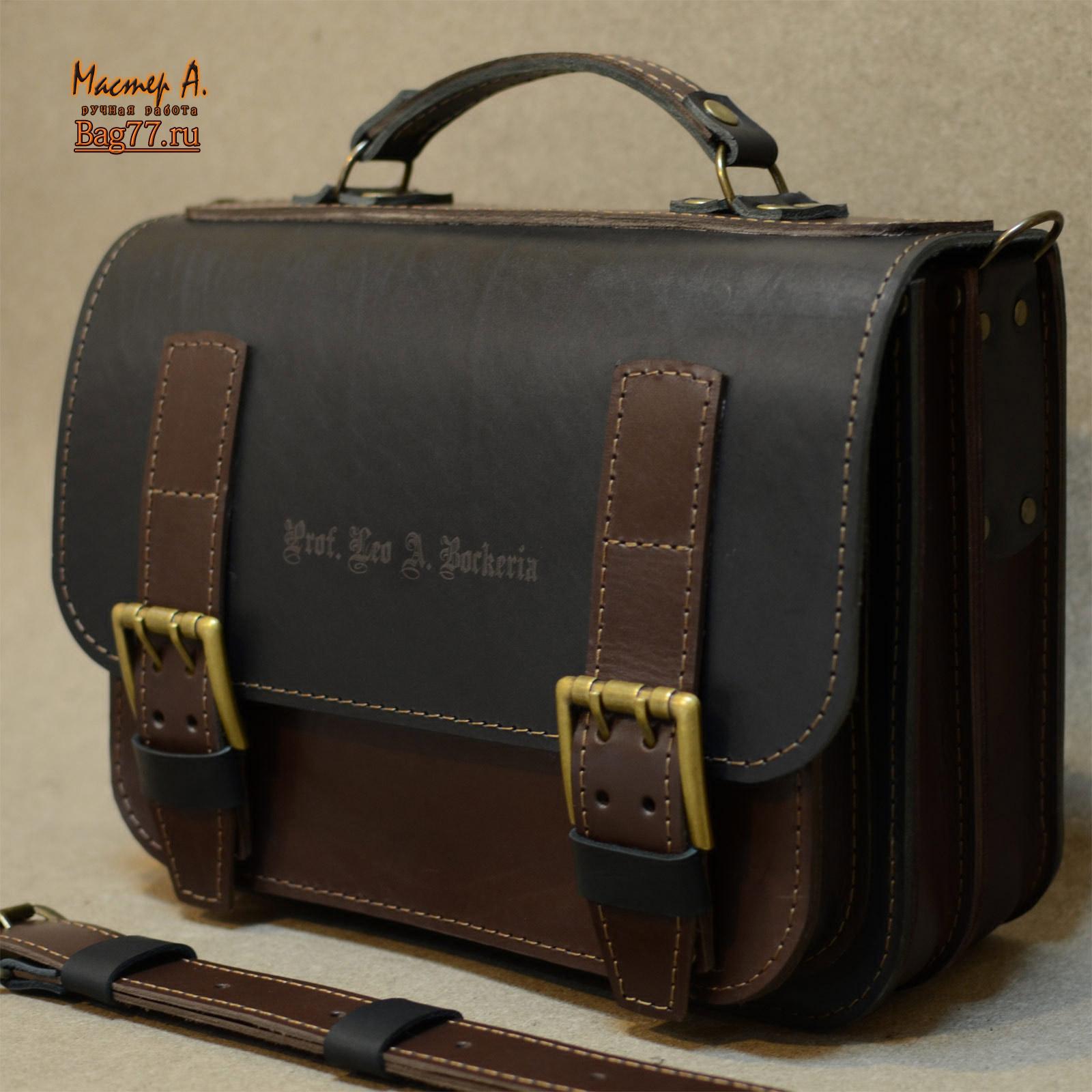 Мужская сумка из грубой кожи цвета хаки