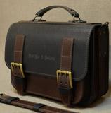 Коричнево-черный кожаный портфель