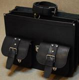 мужской портфель из толстой черной кожи