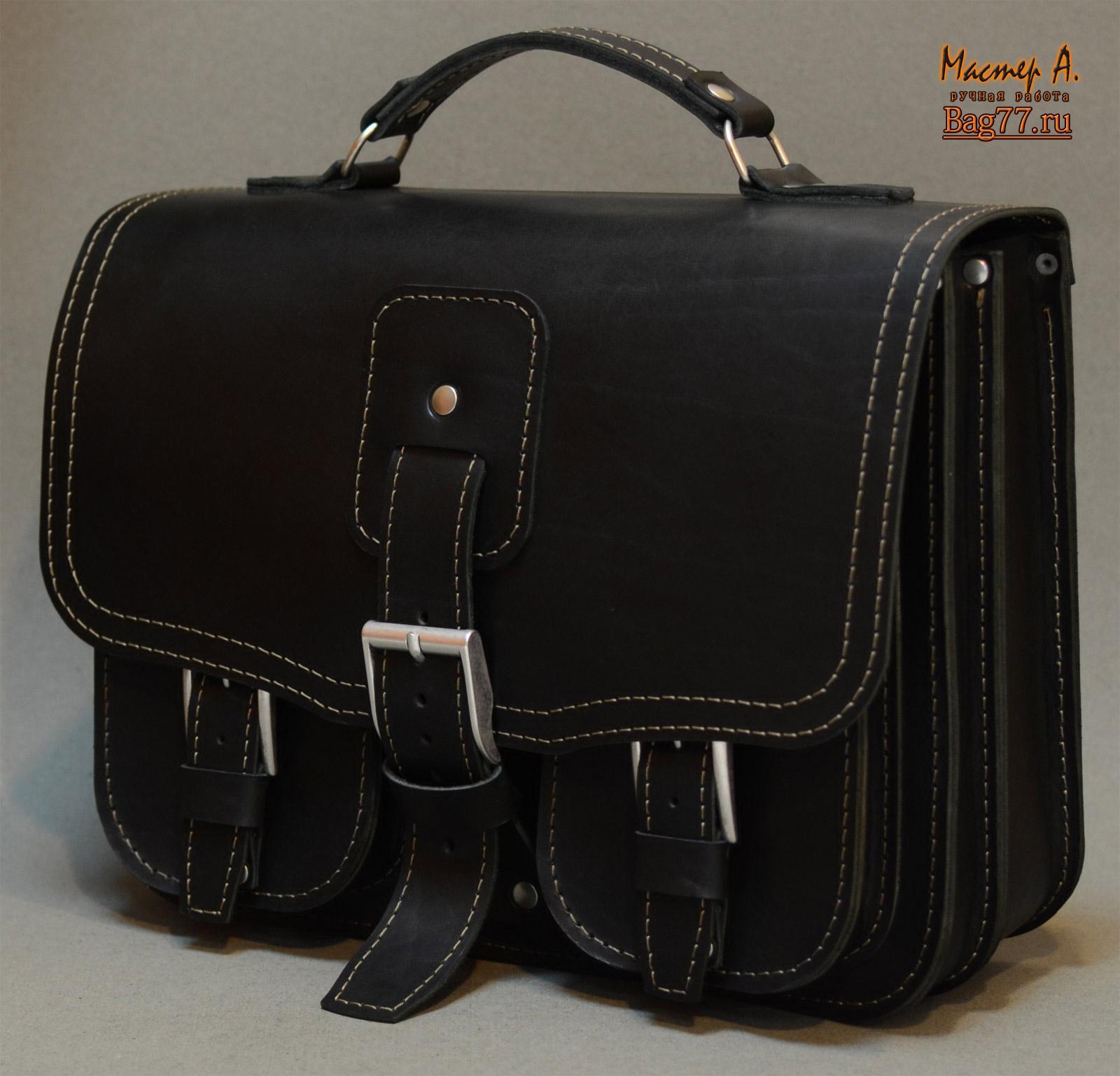 6e27a51a3437 Стильный мужской черный портфель ручной работы « Bag77.ru — кожаные ...