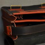коньячно-черная мужская сумка