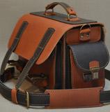 черно-коньячный мужской портфель