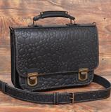 Компактный черный кожаный портфель