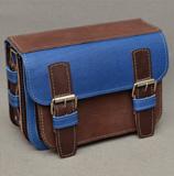 Двухцветная сине-коричневая кожаная сумка