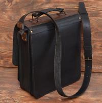 Черно-коричневый вертикальный портфель