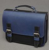 Черно-синий кожаный портфель