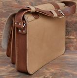 кожаная сумка из бежевой и коричневой кожи