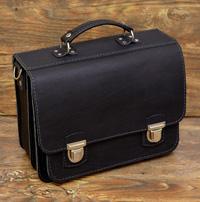 Классический черный портфель на 2 отделения