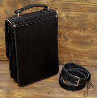 Компактный вертикальный кожаный портфель