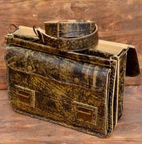 Мужской портфель на 2 отделения  из состаренной кожи