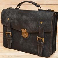 Оригинальный портфель из состаренной кожи