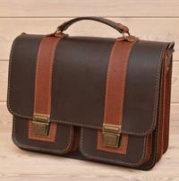 Двухцветный кожаный портфель