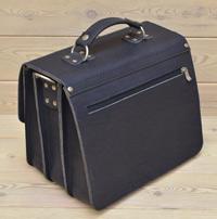 Вместительная синяя кожаная сумка