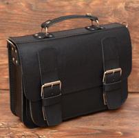 Классический черный кожаный портфель