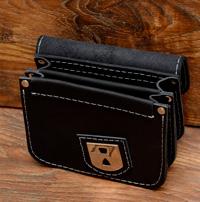 Черная кожаная поясная сумка на 2 отделения