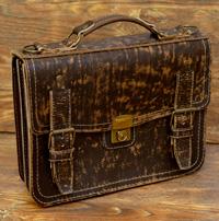 Оригинальный портфель из потертой кожи