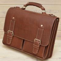 Мужской портфель из толстой коньячной кожи