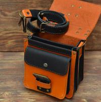Апельсиново-черная барсетка на 2 отделения