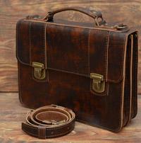 Портфель из состаренной коньячной кожи