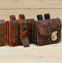 Поясная сумка-болтанка из состаренной кожи