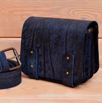 Поясная сумка с ремнем из состаренной кожи