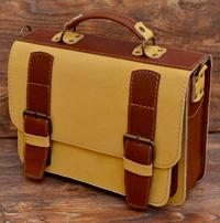 Бежево-коньячный кожаный портфель