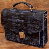 Компактный портфель из состаренной сине-черной кожи