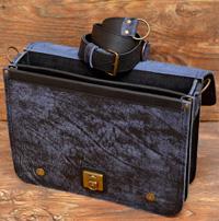Сине-черный портфель из состаренной кожи