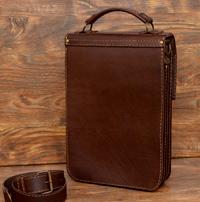 Легкий коричневый портфель-планшетка на 2 отделения