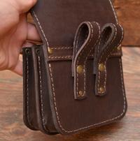 Коричневая кожаная сумка-болтанка