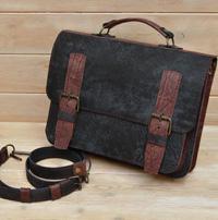 Двухцветный портфель из состаренной кожи