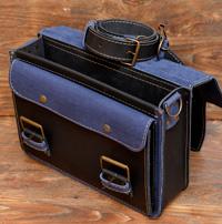 Сине-черный кожаный портфель