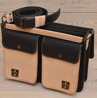 Черно-бежевый кожаный портфель