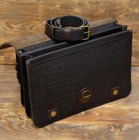 Легкий мужской черно-коричневый портфель