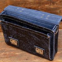 Мужской портфель из состаренной сине-черной кожи