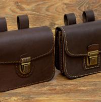 Поясные сумки-болтанки из коричневой кожи