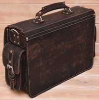 Большой оригинальный портфель из состаренной кожи