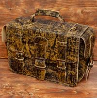 Большой оригинальный портфель из состаренной бежевой кожи