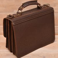 Коричневый портфель на 3 отделения