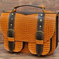 Двухцветная женская сумочка под рептилию