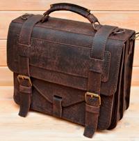 Крупный оригинальный портфель из состаренной кожи