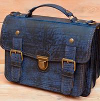 Оригинальный портфель из состаренной синей кожи