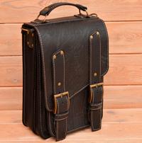 Компактный вертикальный портфель из состаренной кожи