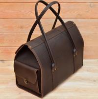 Дорожная сумка из толстой коричневой кожи